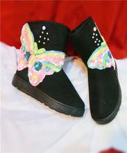 Mariposa colorida Moda nuevas señoras de la llegada botas de invierno botas de nieve Calientes de las mujeres botas de nieve zapatos(China (Mainland))