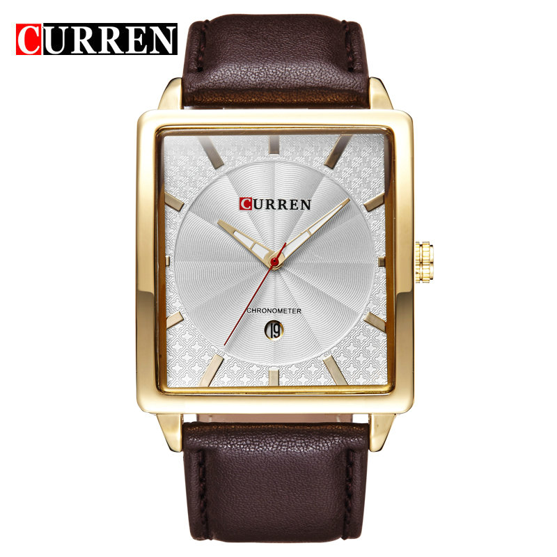 CURREN 8177 Calendar Business Man Mens Quartz Wrist Watch with High Quality Leather Band ,Square Dial 3 colors<br><br>Aliexpress