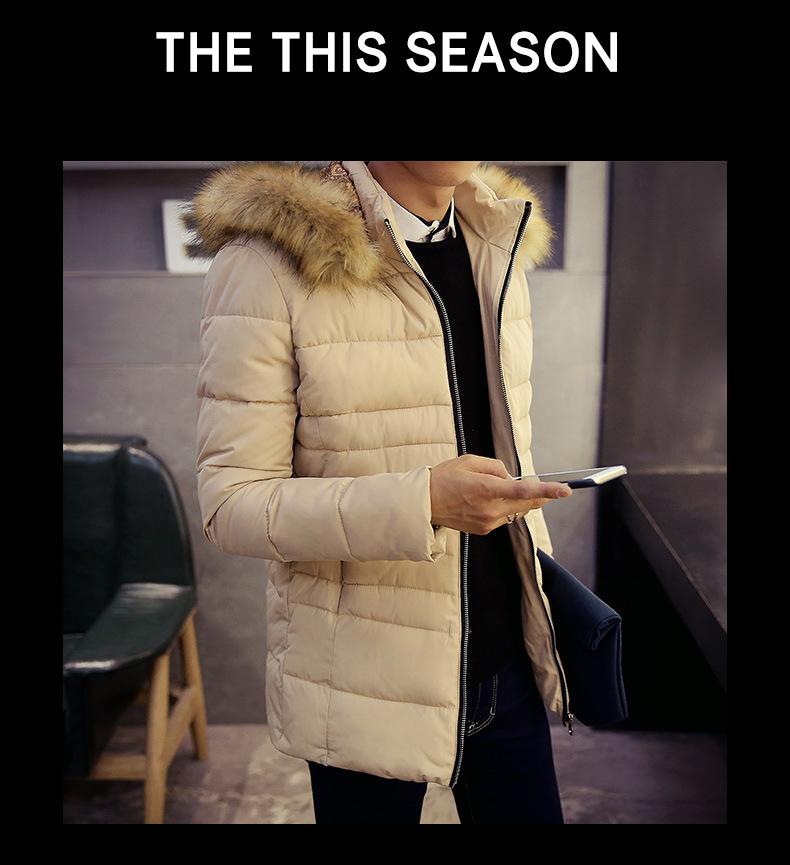 Скидки на Зима новый мужской случайные вниз хлопка одежды Корейской моды енот Надьямарош воротник мужской хлопок мужские парки плюс размер