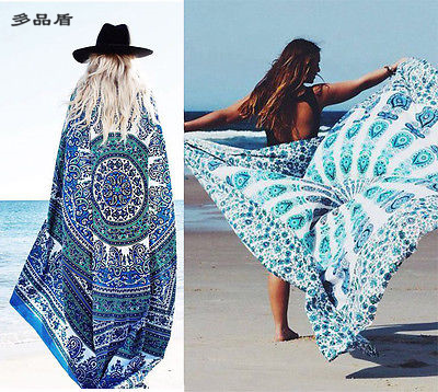 Cool Summer Many Uses Sexy Women Print Cover Up Chiffon Long Swimwear Beach Dress Smock One Size(China (Mainland))