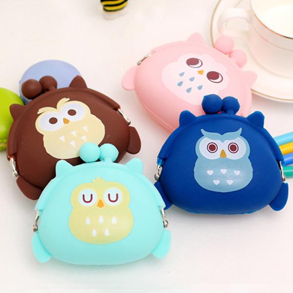 Cartoon OWL small mini Coin Bag mini Coin Purse change wallet purse women key wallet coin Wallet Children Kids  Free shipping<br><br>Aliexpress