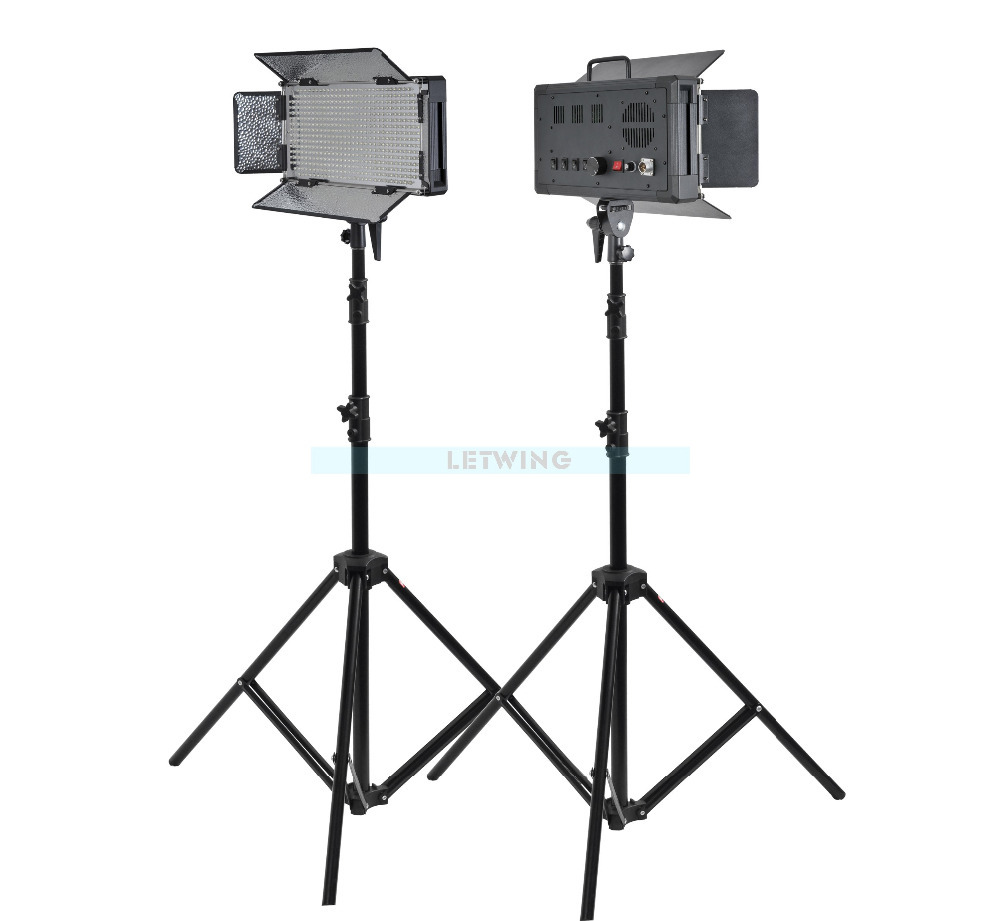 Godox 1000W 2X LED 500W Photo Studio Video Continuous Light Kit For Camera Camcorder 3300K Yellow Version(China (Mainland))