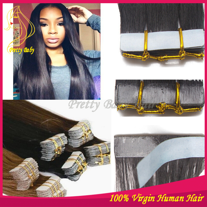 """Cheap Skin Weft Tape Human Hair Extensions Brazilian Virgin Hair Straight Skin Weave 12 Color Texture Available 100g/lot 12""""-32""""(China (Mainland))"""