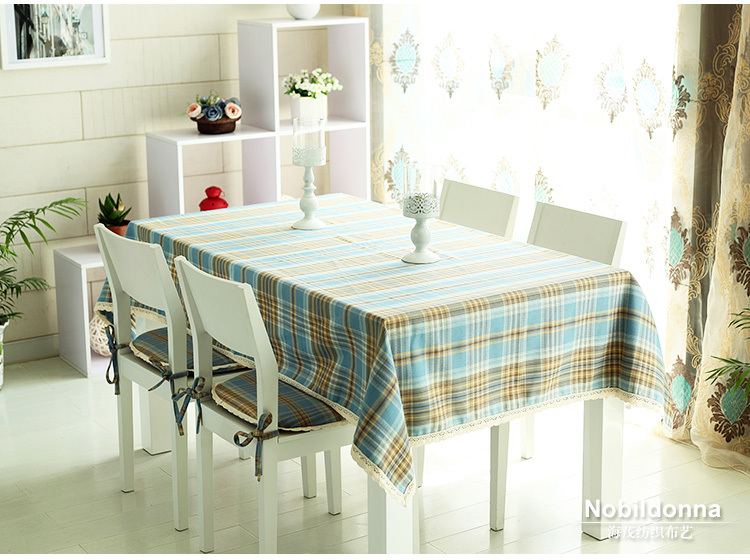 Free shipping, Plaid Pattern Polyester Fabric Lace Dining Table Cloth Tablecloth SIZE:140CMx 200CM(China (Mainland))