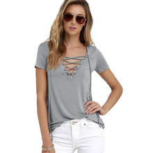 Buy Women Sexy V Neck Blouse Lace Causal Short Sleeve Shirt Women Hollow Strappy Front Blouses Ladies Tops Blouse 8 Colors for $4.66 in AliExpress store