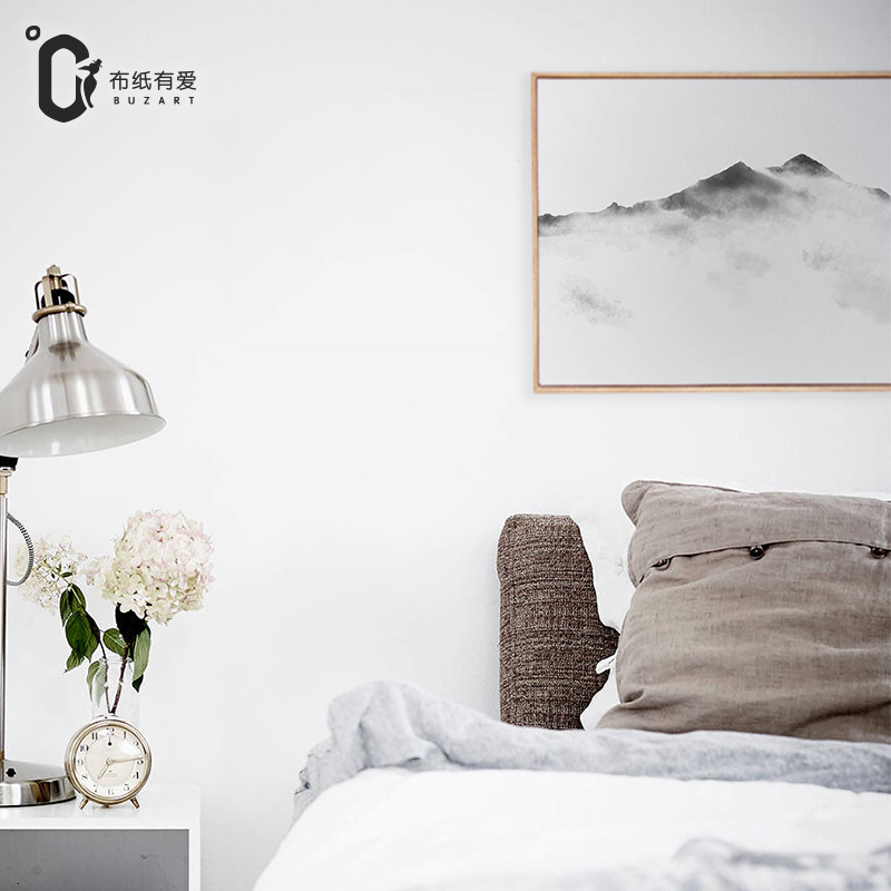 Mountain top chinese zen paintings for living room wall for 12x16 living room