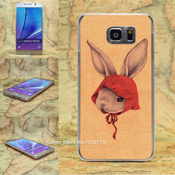 red scarf rabbit Pattern transparent clear hard Cover Case for Samsung galaxy note 2 3 4 5 s4 mini s6 edge+(China (Mainland))