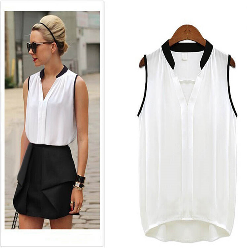 S XL Women Casual Chiffon Plus Size Sleeveless Shirt
