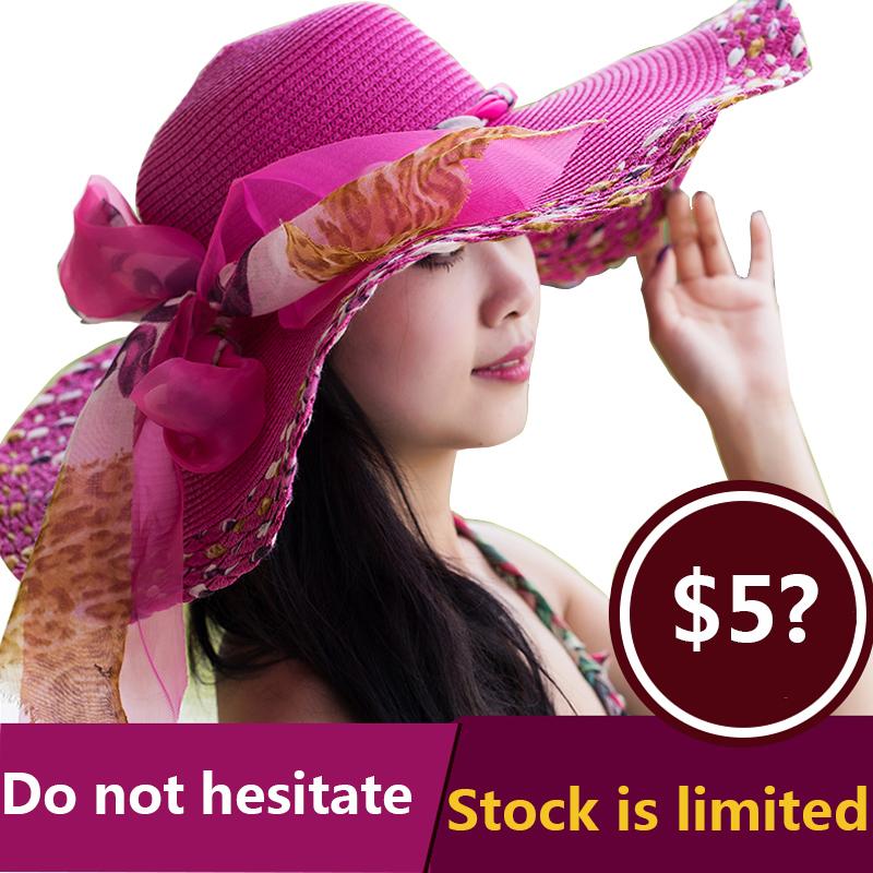 2016 Fashion Summer Women's Ladies' Foldable Wide Large Brim Floppy Beach Hat Sun Straw Hat Cap Women F0(China (Mainland))