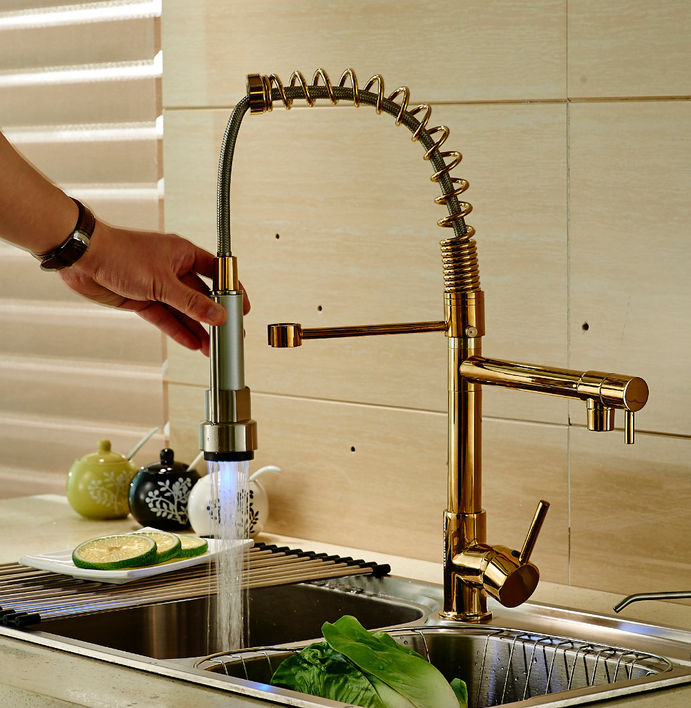 LED Light Pull Down Spray Kitchen Sink Faucet Swivel Spout ...