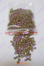 1000pcs/pack Wheat silicone micro nano bead with silicone line for Nano Hair Extensions tool kit 7 Colors Optional