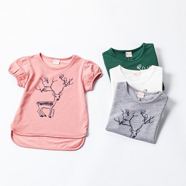 2016 летом новый для малышей тройники девушки с коротким рукавом свободного покроя футболки девушка олень хлопка блузка вершины 4 цветов