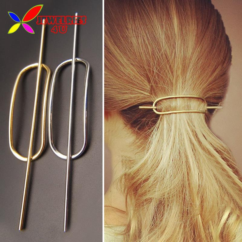 2016 Fashion Designer Brief Gold Silver Oval Hair Clasp Jewelry Females Metal Hair Sticks for women accessories varas de cabelo(China (Mainland))
