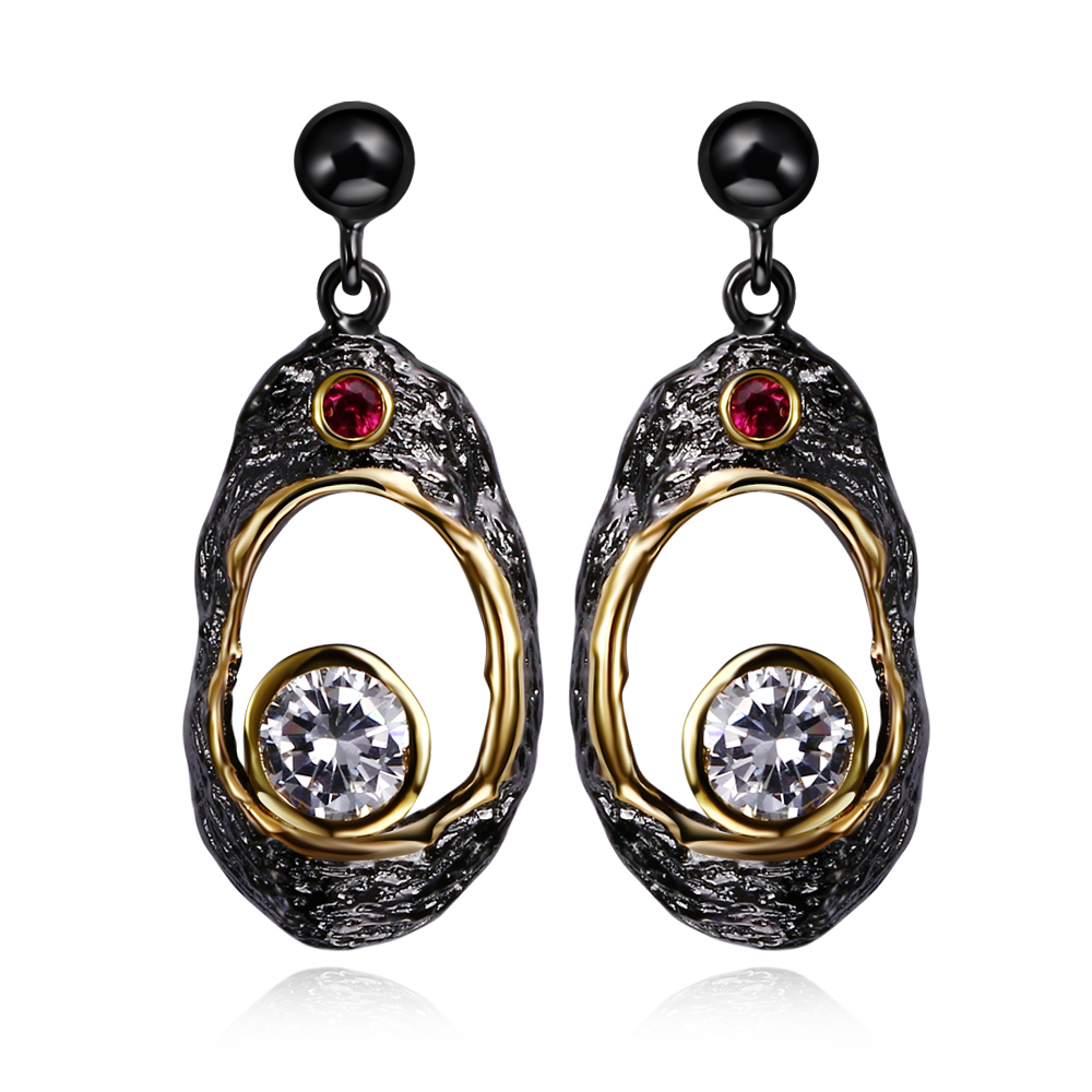 DC1989 Free shipping 2016 New vintage 18K Gold black Plated Cubic Zirconia Brass Lead free Post Drop earrings for women (E03)(China (Mainland))