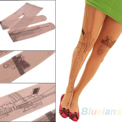 Sexy Machine Gun Tattoo Transparent Tights Stockings Pantyhose 037V(China (Mainland))