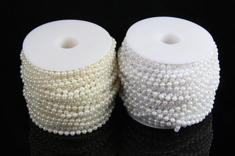 10Meters 5mm White/Beige Decorative Pearl Strands Round Beads Garland Chain String of Pearls For Wedding Decoration Crafts(China (Mainland))
