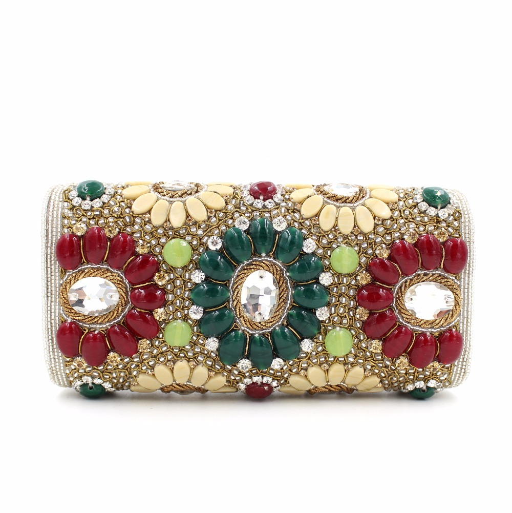 India Style Designer Handbags High Quality Women Bags Clutch Purse with Shoulder Chain Beaded Gemstone Evening Clutch Bag(China (Mainland))