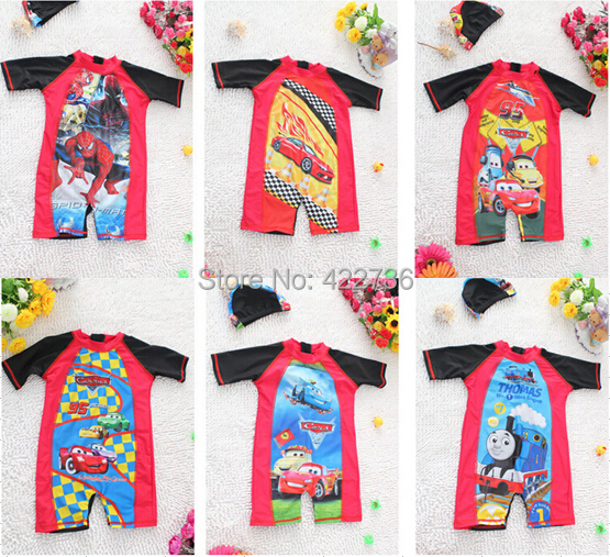 2015 Child One Piece Rash Guard Kids Boys Mickey Thomas Spider-Man Surfing Snorkeling Suit Cap Lycra Clothes For Wetsuit(China (Mainland))