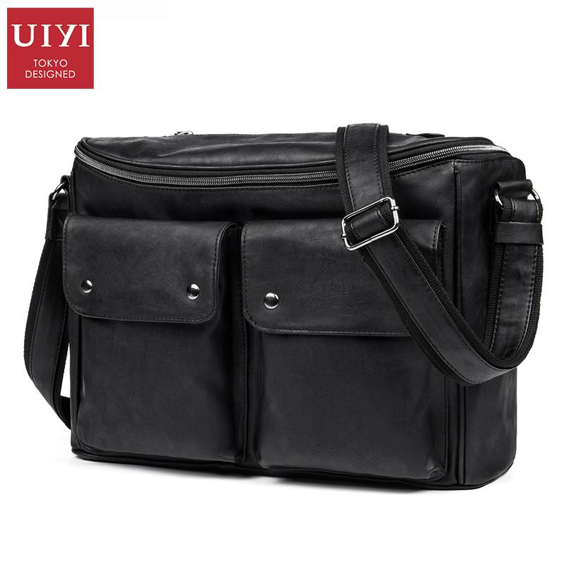 UIYI New 2016 Fashion PU Leather Men Messenger Bags Casual Outdoor Men Travel Bags Men Shoulder Bag black(China (Mainland))
