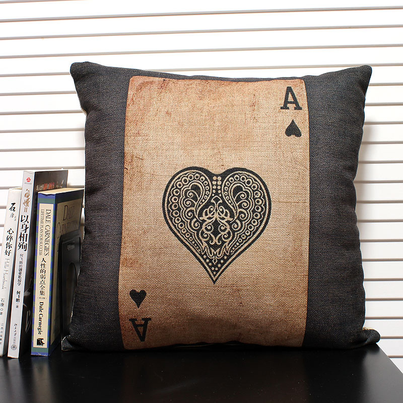 Bulk Throw Pillow Cases : Wholesale! Personality poker pillow cover,A cushions Linen Pillow case office pillows home ...