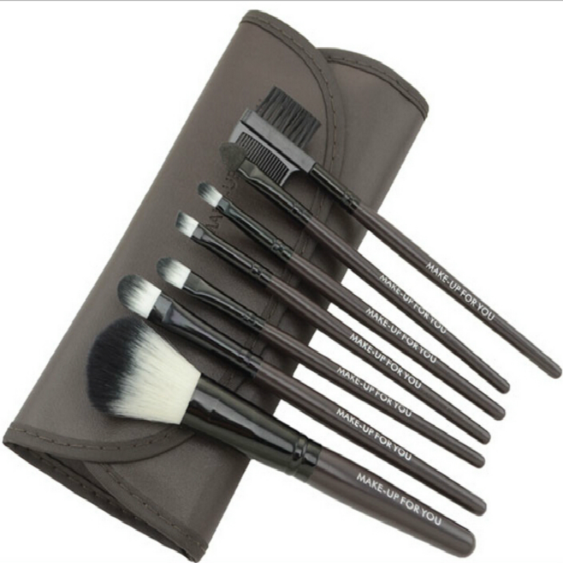 New Women Multicolor Makeup Brush Set 7pcs/set Professional High Quality With PU Bag Eyebrow Comb Sable Hair Free Shipping(China (Mainland))