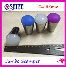 Free Shipping New Arrival 1PC Sliver Handle Jumbo Stamper With Silicone Plug Dia 3.5cm Squishy Refill Creative Stamp Nail Art(China (Mainland))