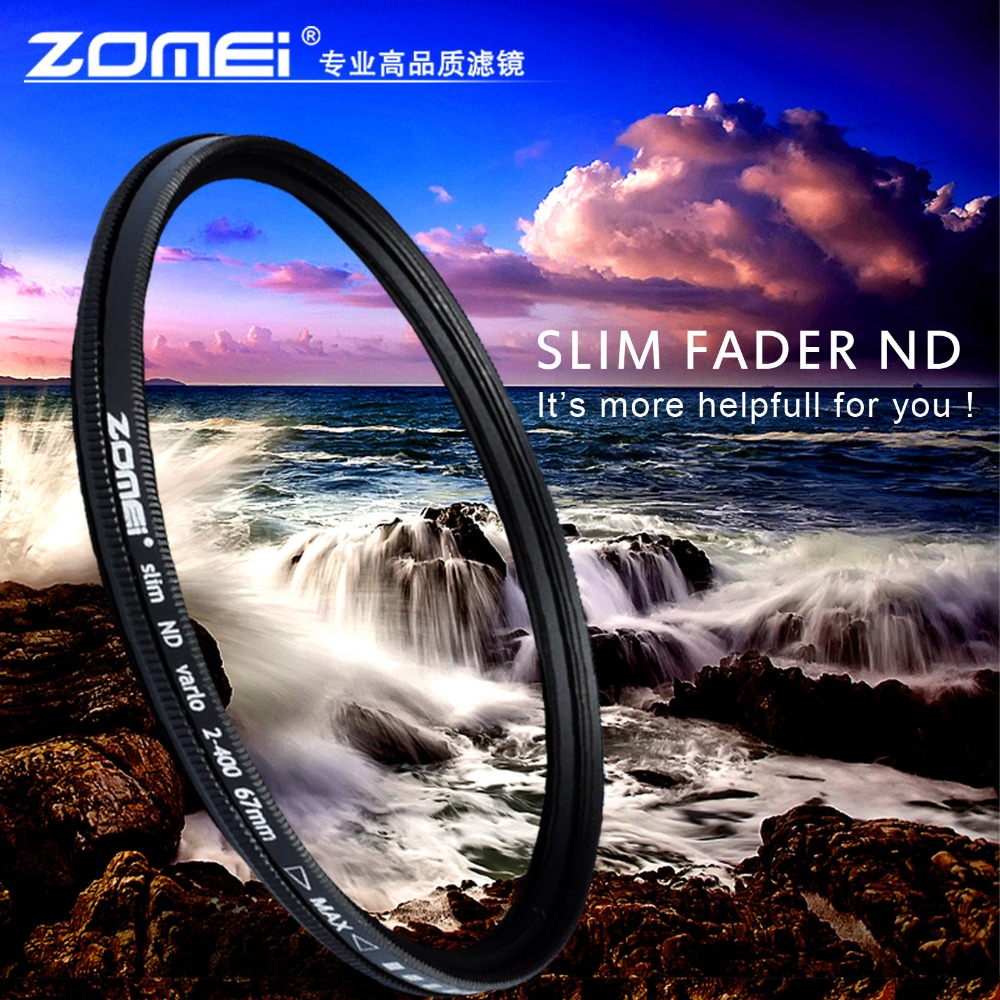ZOMEI Glass Slim ND2-400 Neutral Density Fader Variable ND filter Adjustable 49/52/55/58/62/67/72/77/82mm(China (Mainland))