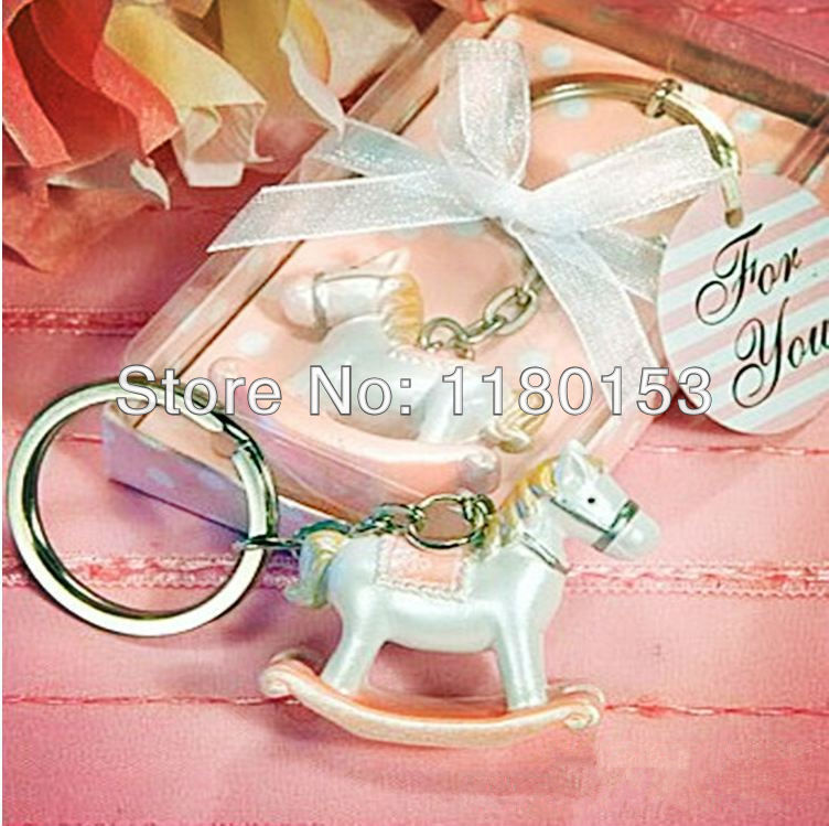 50pcs lot baby shower return gifts resin hobbyhorse key chain gifts