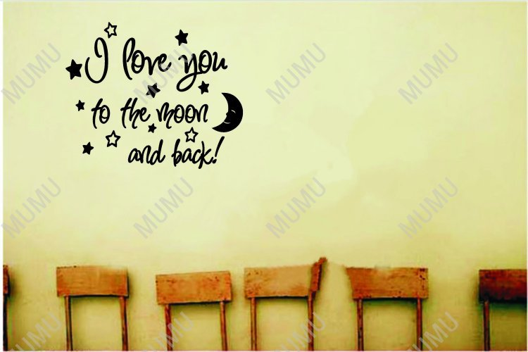 Wall Art Quotes About Love : I love you to the moon and back cute baby nursery wall art