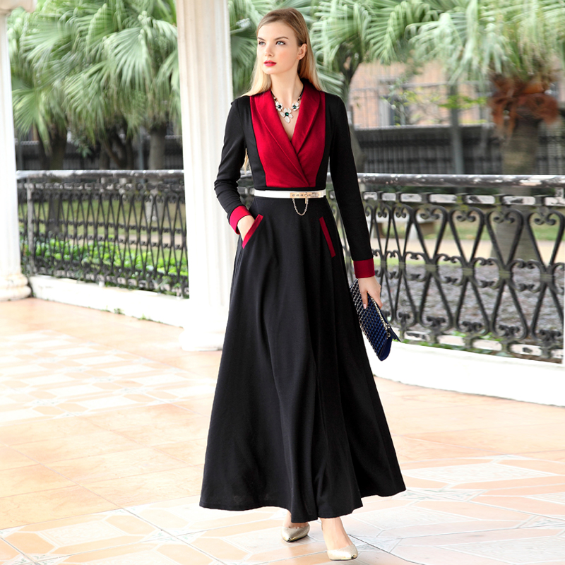 XXXXL!New Brand Fashion Business Women Inspired Style 2016 Spring Women Notched Colar Color Block A-Line Long Dress Work WearОдежда и ак�е��уары<br><br><br>Aliexpress