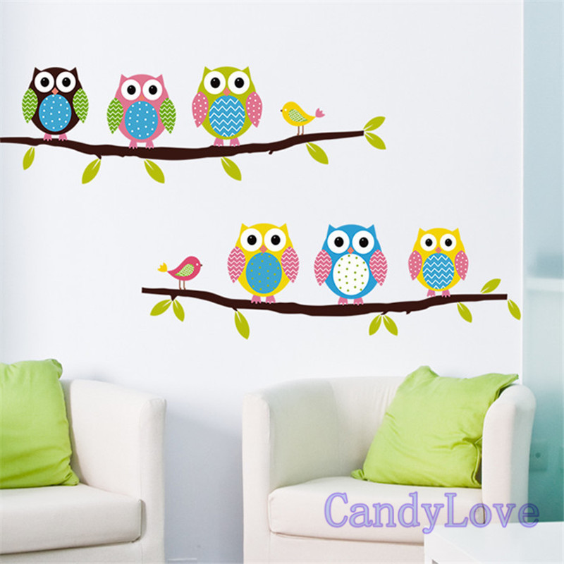 Room Cute Cartoon Owl Wall Stickers Children Bedroom Sitting Room