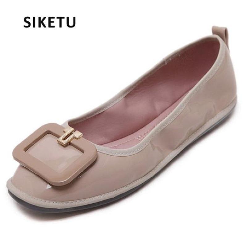 SIKETU Buckle Simple Fashion Square Toe Falts Shoes Women Sexy Sweet Ladies Wholesale Female 35-40 Size Freeshipping Footwear(China (Mainland))