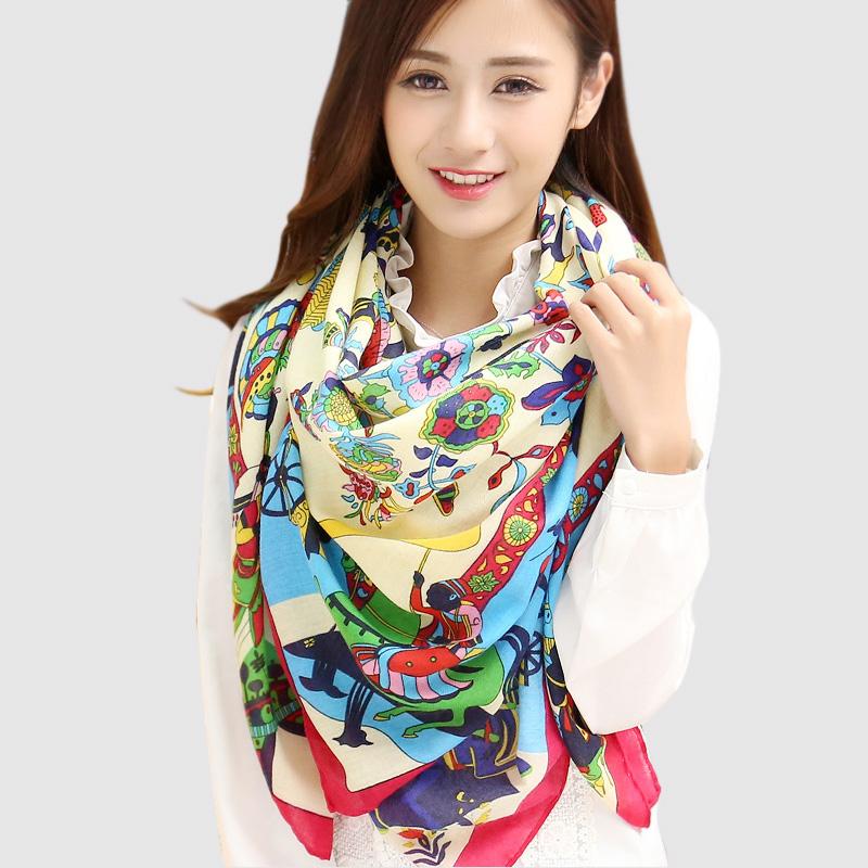 2016 New Womens Scarfs Fashionable Big Square Scarf Printed Bandana Brand Wraps Winter Scarves cotton shawl scarf luxury brand(China (Mainland))