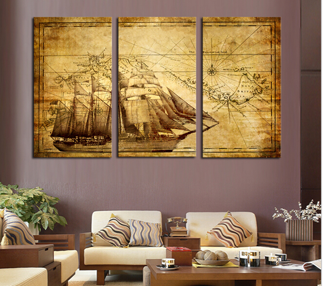 3 pcs old sailing boat large hd wall art picturetop rated canvas print painting for living room. Black Bedroom Furniture Sets. Home Design Ideas