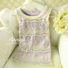 [Aamina] Sequins baby girls vest, tops for girls clothes,kid summer child clothes 2-6y