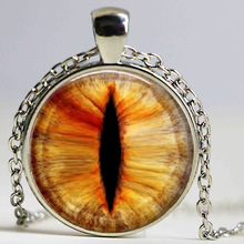 Buy 1PC Charms Cat Eye Pendant Necklaces glass dragon eye pendnat personality Necklaces bronze chain glass dome necklaces jewelry for $2.84 in AliExpress store