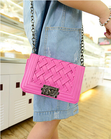 2015 Hot Quality Soft Pu leather women messenger bag Weave bag long Chain small shoulder bag Wholesale WH109(China (Mainland))