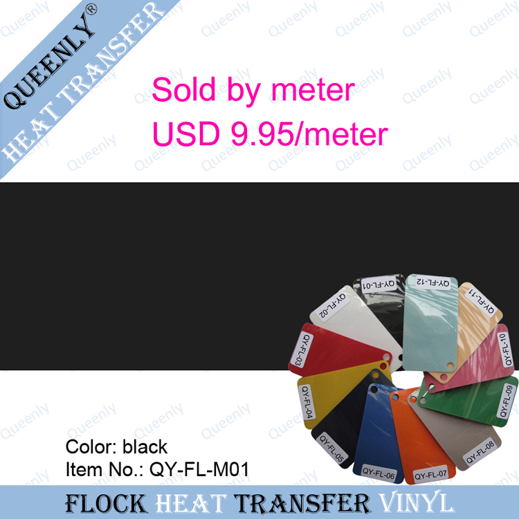 Flocking Heat Transfer Vinyl Film hot transfer material sold by meter 5 meters/pack width 50cm(China (Mainland))