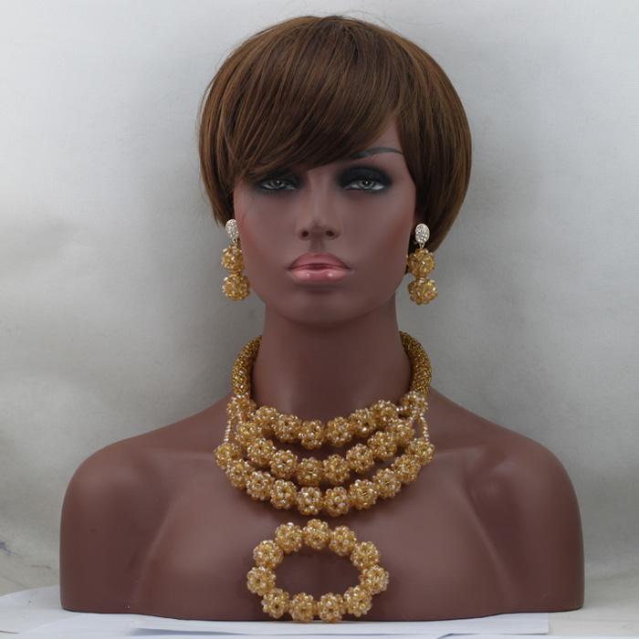 Champagne Beads Bridal Jewelry Set Gold Bead Crystal Necklace Set Handmade Balls Bib Chunky Jewelry Set Free Shipping WD428(China (Mainland))