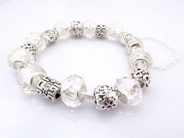Hot!Free Shipping  925 Sterling Silver jewelry charms bracelet silver bracelet.clear crystal beads bracelet  Pp09