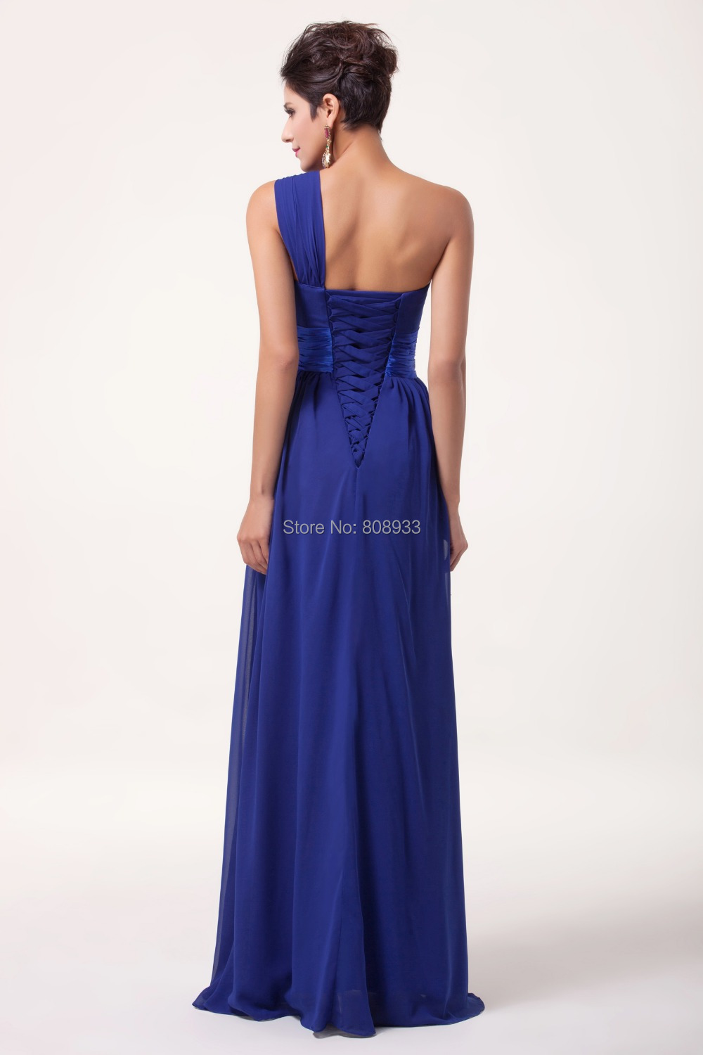 2015 one shoulder chic cheap long royal blue bridesmaid for Royal blue wedding dresses cheap