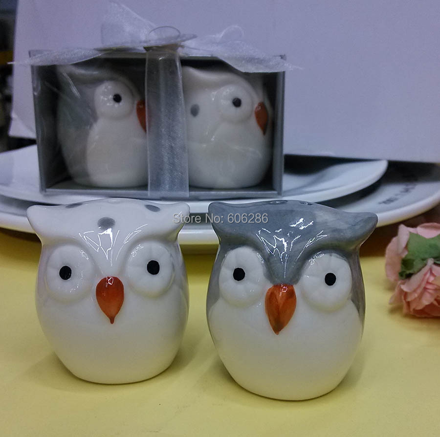60pcs=30sets/lot Wedding Thank you gift Owl Ceramic Salt and Pepper Shakers Event and Party Souvenirs, Wedding Favors(China (Mainland))