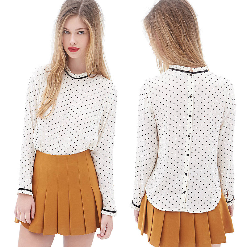 Stand Collar Blouse Designs : Women blouses fashion stand collar long sleeve button