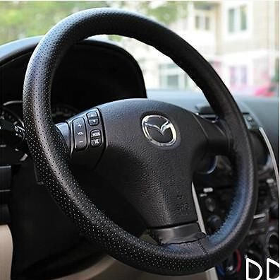New Fashion PU Leather DIY Car Steering Wheel Cover With Needle and Thread Black Free Shipping(China (Mainland))