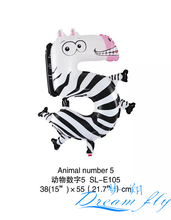 Free Shipping Animal shaped number 5 balloon Number Figure Balloon