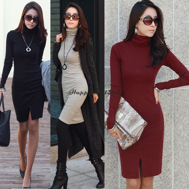 Turmec » long knit dresses with sleeves for women