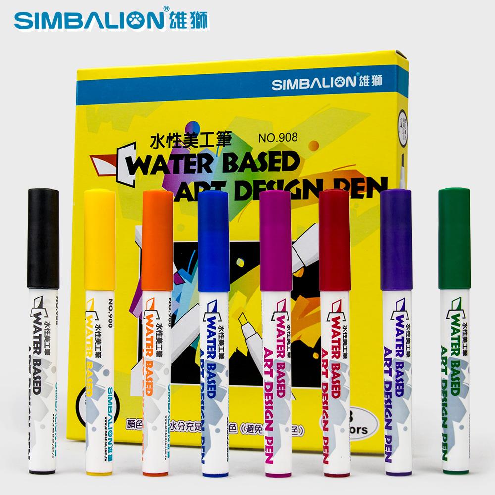 8pcs/lot Simbalion Marker pens 4mm oblique nib water based art design pen(China (Mainland))