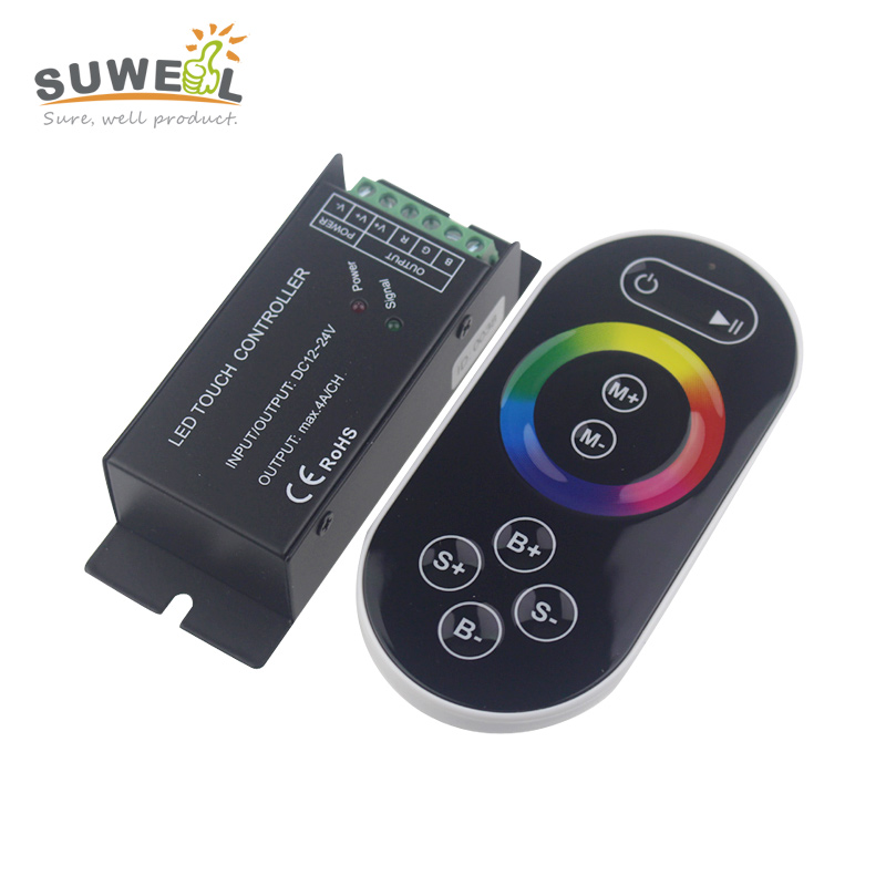 dc 12-24v touch switch rgb led strip controller dimmer ir remote control led 3528 5050 rgb strip 60 modes output 3 channel 4A/ch(China (Mainland))