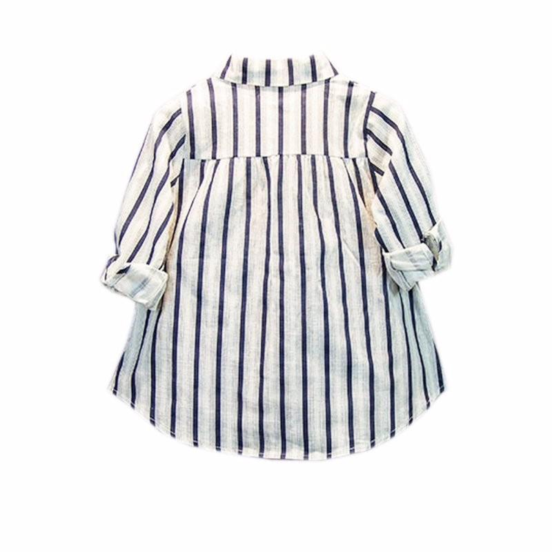 2-7Y 2016 Summer Girls Shirts Cotton Blusa Children Stripe Shirt Kids Loose Soft  Blouse Baby Girl Tops