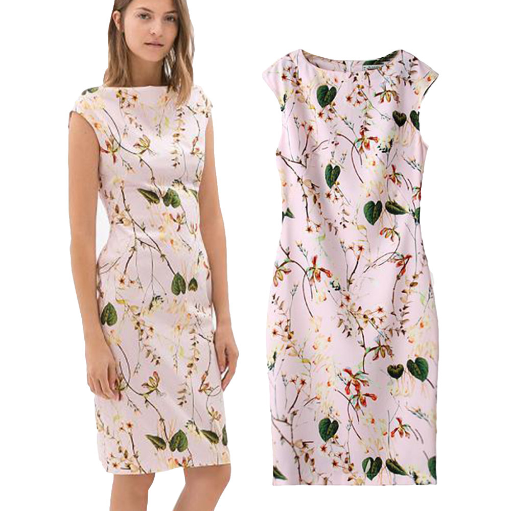 Elegant Women's Dress OL Fashion Bodycon Dresses Floral Print Pattern Pink Empire Sleeveless Lady's Casual Sundress(China (Mainland))